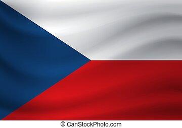Waving flag of Czech Republic. Vector illustration