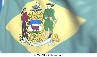 Waving flag of Delaware. Close-up, loopable 3D animation -...