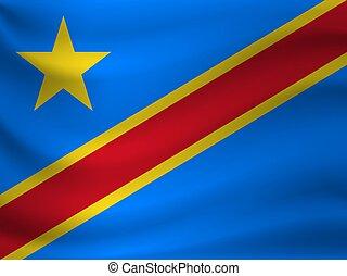 Waving flag of Democratic Republic Congo. Vector illustration