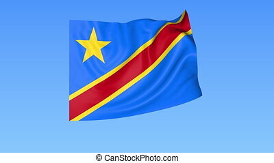 Waving flag of Democratic Republic of the Congo, seamless loop. Exact size, blue background. Part of all countries set