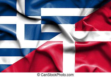 Waving flag of Denmark and Greece