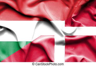 Waving flag of Denmark and Hungary