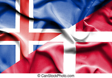 Waving flag of Denmark and Iceland