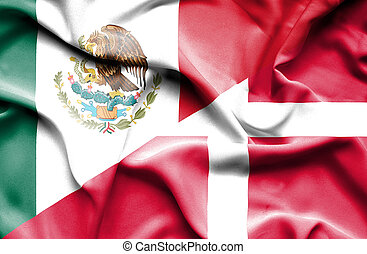 Waving flag of Denmark and Mexico