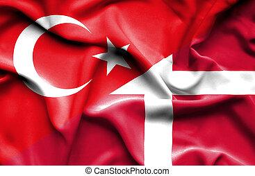 Waving flag of Denmark and Turkey