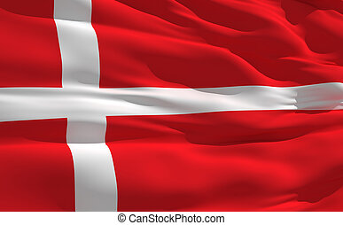 Fluttering flag of denmark on the wind