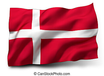 flag of Denmark - Waving flag of Denmark isolated on white...