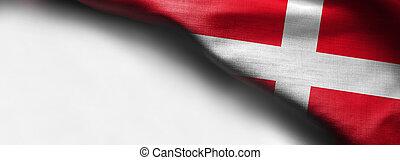 Waving flag of Denmark. on white background - right top corner