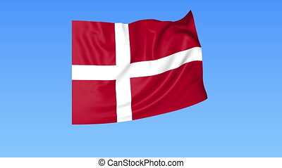 Waving flag of Denmark, seamless loop. Exact size, blue background. Part of all countries set. 4K ProRes with alpha