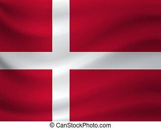 Waving flag of Denmark. Vector illustration