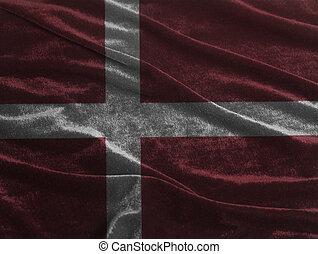 Waving flag of Denmark.