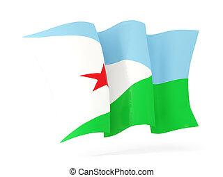 Waving flag of djibouti. 3D illustration