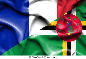 Waving flag of Dominica and France