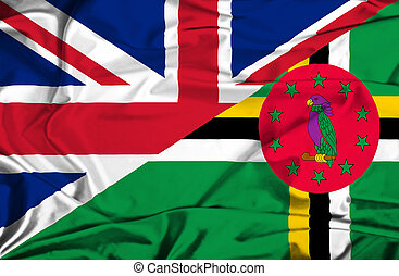 Waving flag of Dominica and UK