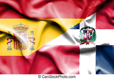Waving flag of Dominican Republic and Spain