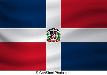 Waving flag of Dominican Republic. Vector illustration