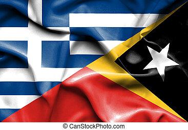 Waving flag of East Timor and Greece