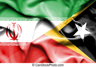 Waving flag of East Timor and Iran