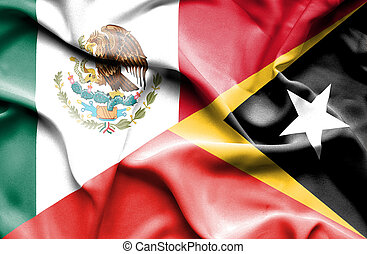 Waving flag of East Timor and Mexico