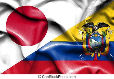 Ecuador and japan waving ecuadoran and japanese flags on waving flag of ecuador and japan gumiabroncs Image collections