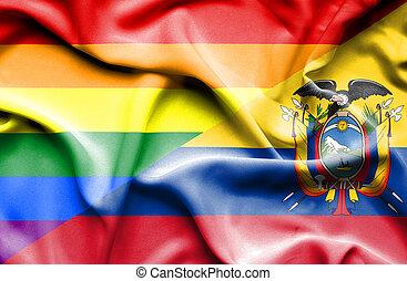 Waving flag of Ecuador and Pride