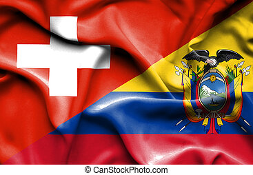 Waving flag of Ecuador and Switzerland