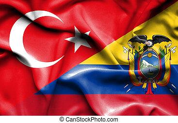 Waving flag of Ecuador and Turkey