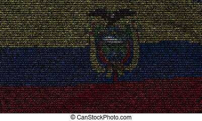 Waving flag of Ecuador made of text symbols on a computer screen. Conceptual loopable animation