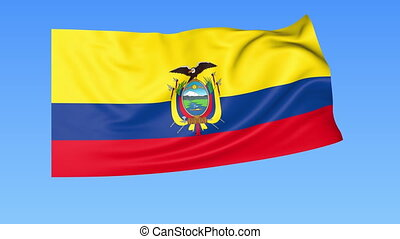 Waving flag of Ecuador, seamless loop. Exact size, blue background. Part of all countries set. 4K ProRes with alpha