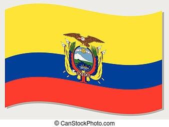 Waving flag of Ecuador vector graphic. Waving Ecuadorian ...