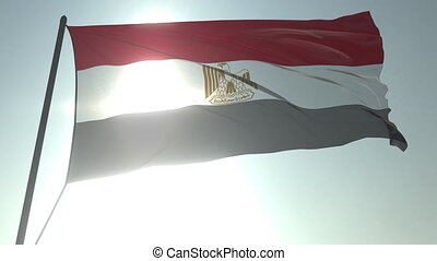 Waving flag of Egypt against shining sun and sky. Realistic loopable 3D animation