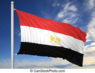 Waving flag of Egypt on flagpole, on blue sky background.