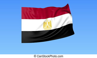 Waving flag of Egypt, seamless loop. Exact size, blue background. Part of all countries set. 4K ProRes with alpha.
