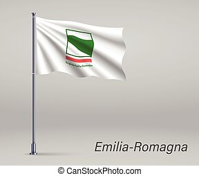 Waving flag of Emilia-Romagna - region of Italy on flagpole. Template for independence day