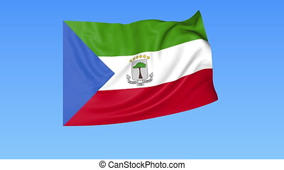 Waving flag of Equatorial Guinea, seamless loop. Exact size,...