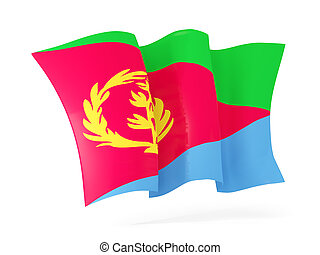Waving flag of eritrea. 3D illustration