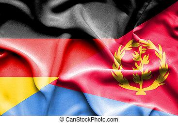 Waving flag of Eritrea and Germany