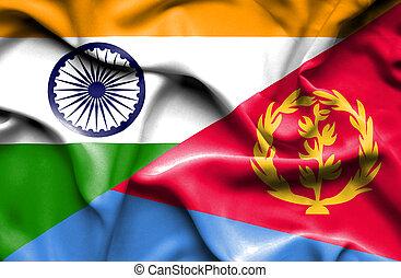 Waving flag of Eritrea and India