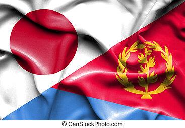 Waving flag of Eritrea and Japan