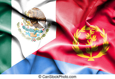 Waving flag of Eritrea and Mexico