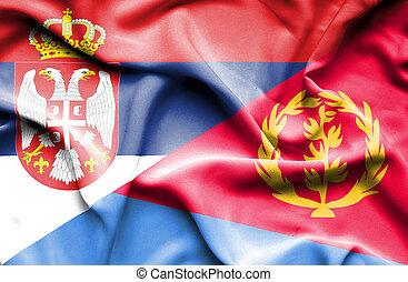 Waving flag of Eritrea and Serbia