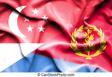 Waving flag of Eritrea and Singapore