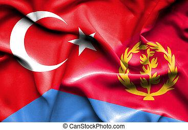 Waving flag of Eritrea and Turkey