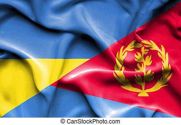 Waving flag of Eritrea and Ukraine