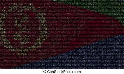 Waving flag of Eritrea made of text symbols on a computer...