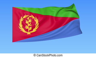 Waving flag of Eritrea, seamless loop. Exact size, blue background. Part of all countries set. 4K ProRes with alpha