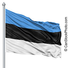 Waving flag of Estonia - Flag of Estonia with flagpole...