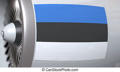 Waving flag of Estonia on airplane tourbine engine. Aviation related 3D rendering