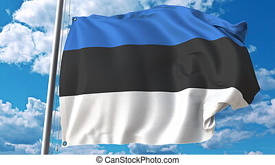 Waving flag of Estonia on sky background. 3D rendering
