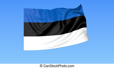 Waving flag of Estonia, seamless loop. Exact size, blue background. Part of all countries set. 4K ProRes with alpha